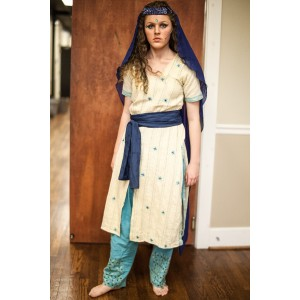 Ancient Persian – Women's Full Outfit,  Tan and Blue