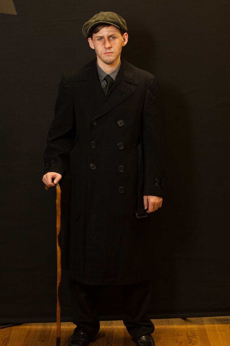 1940s – Men's Full Outfit,  Black Trench coat