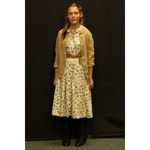 1940s – Women's Full Outfit,  Tan Floral