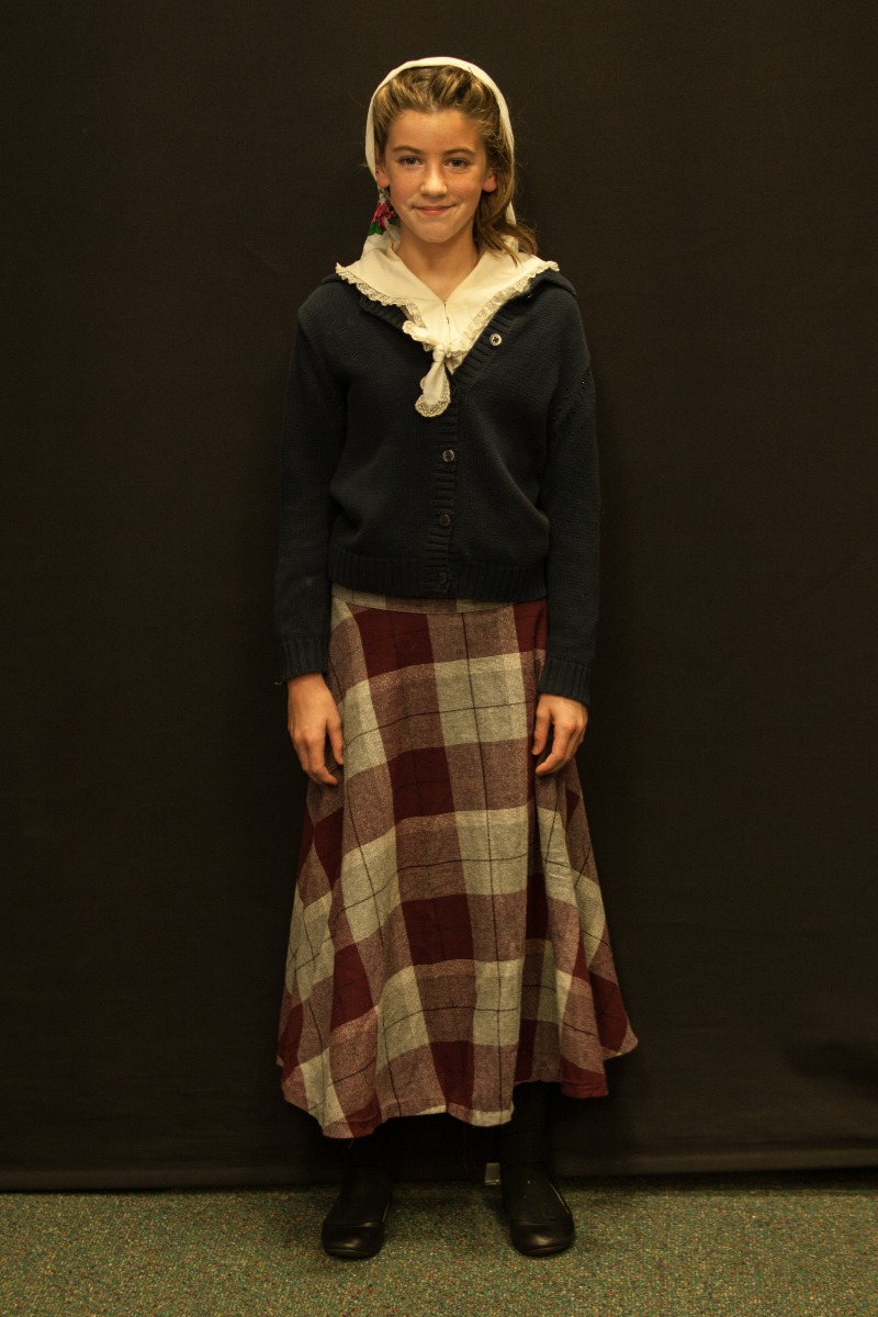 1940s – Women's Full Outfit,  Grey and Burgundy Plaid