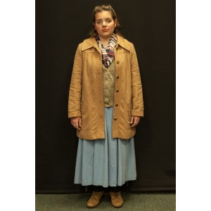 1940s – Women's Full Outfit,  Tan and Light Blue