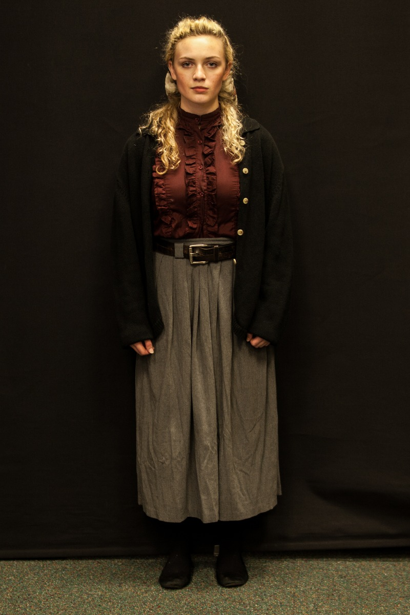 1940s – Women's Full Outfit,  Light Grey Burgundy