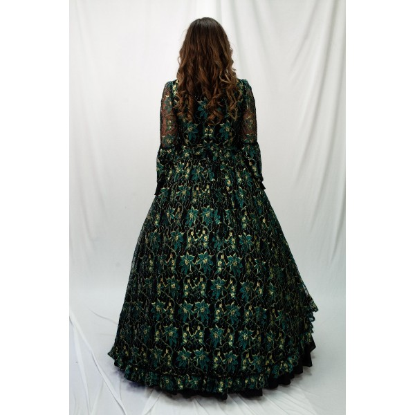 Dickens/ Civil War – Women's Full Outfit,  Ballgown Green and Black
