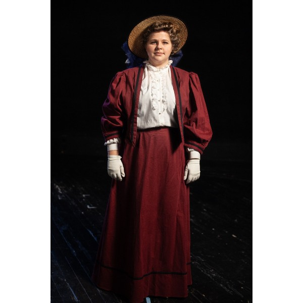 Bustle/Turn of the Century – Women's Full Outfit,  Red with Blue Hat