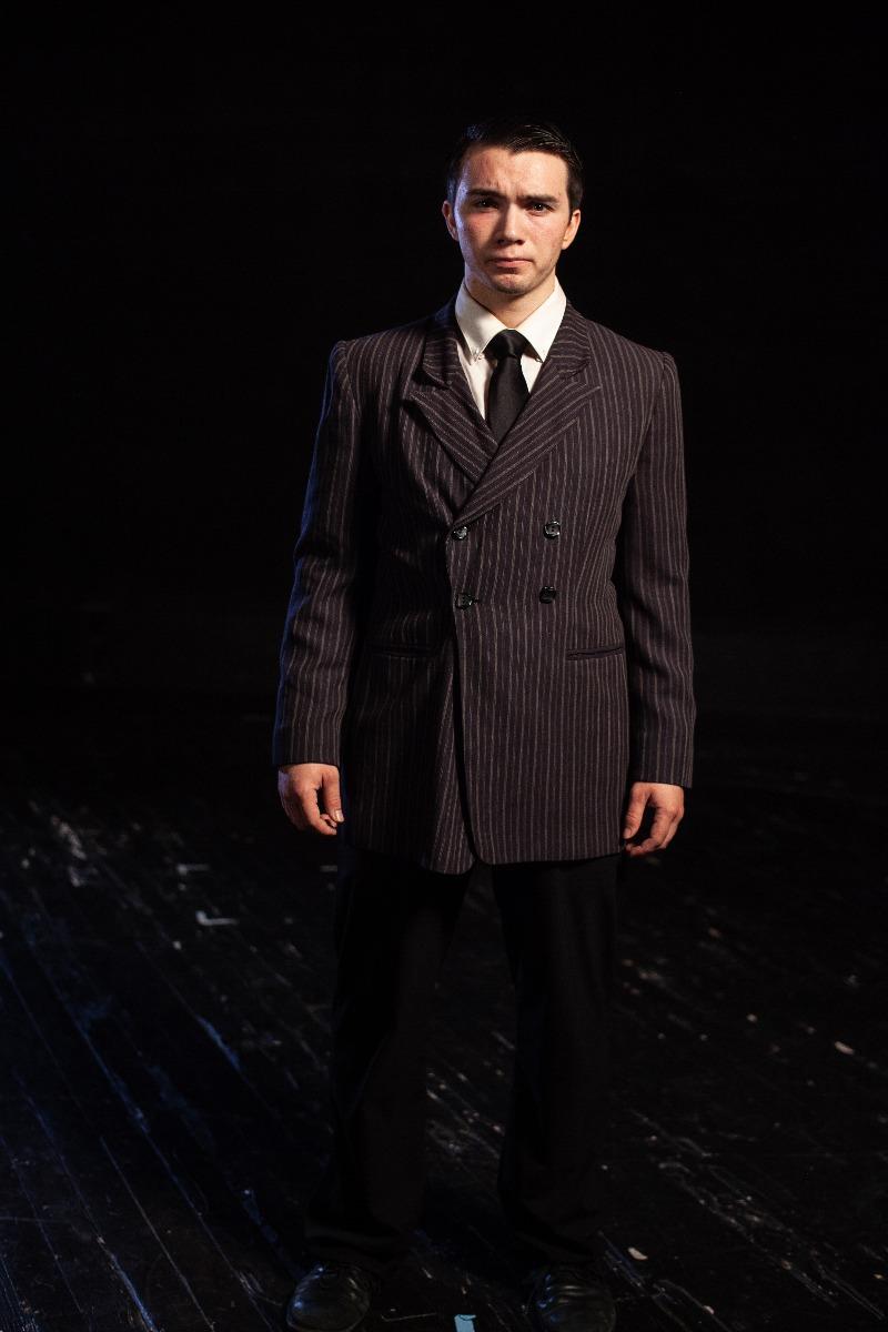 Bustle/Turn of the Century – Men's Full Outfit,  Dk Grey Stripe