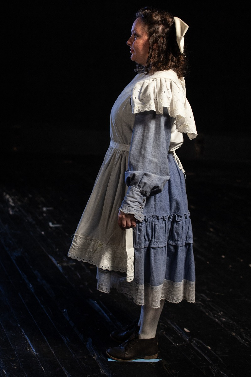 Bustle/Turn of the Century – Women's Full Outfit,  Lt Blue and White