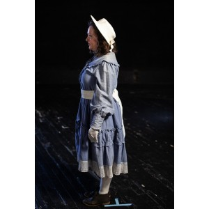 Bustle/Turn of the Century – Women's Full Outfit,  Lt Blue and White Sash