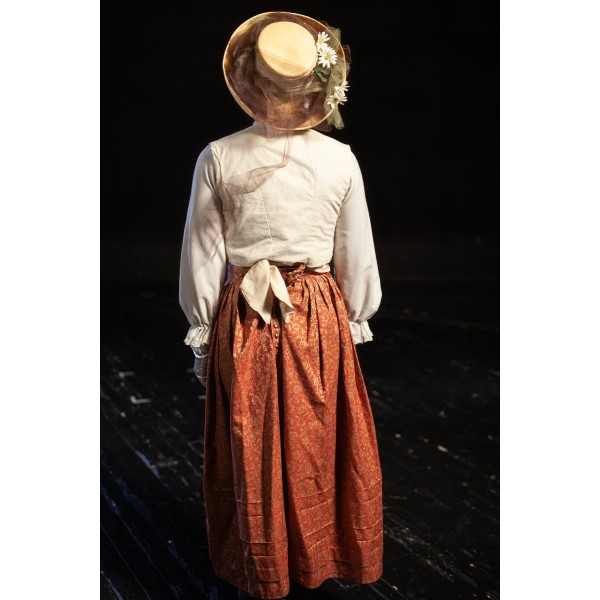 Bustle/Turn of the Century – Women's Full Outfit,  White and Coral