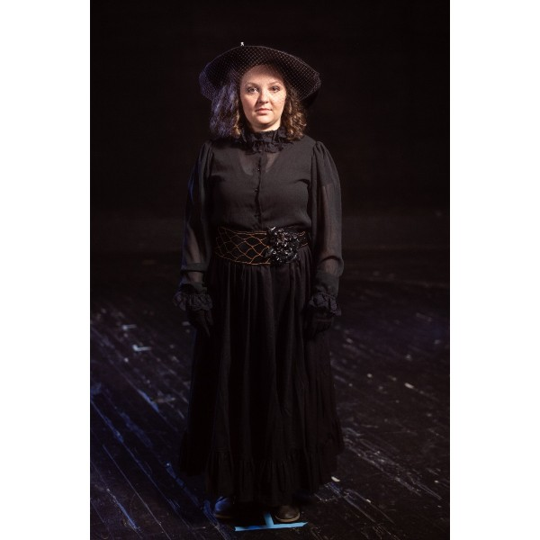Bustle/Turn of the Century – Women's Full Outfit,  Black Mourning Dress