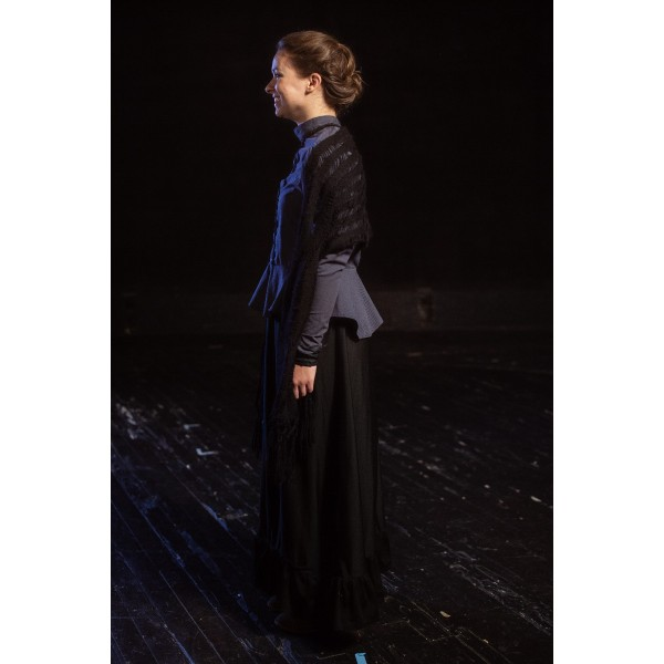 Bustle/Turn of the Century – Women's Full Outfit,  Grey Mourning Dress