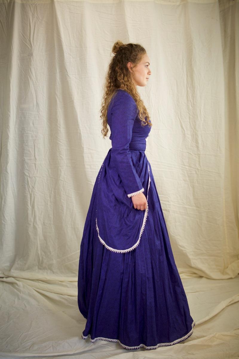 Colonial (Rev. War & F. Rev.) – Women's Outfit Full,  Purple-Blue
