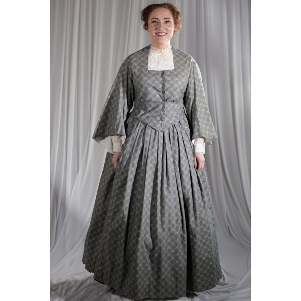 Crinoline/Civil War – Women's Full Outfit,  Blue and Cream Patterned