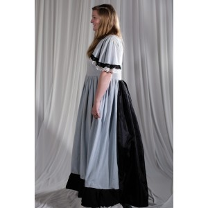 Crinoline/Civil War – Women's Full Outfit,  Light Blue and Black