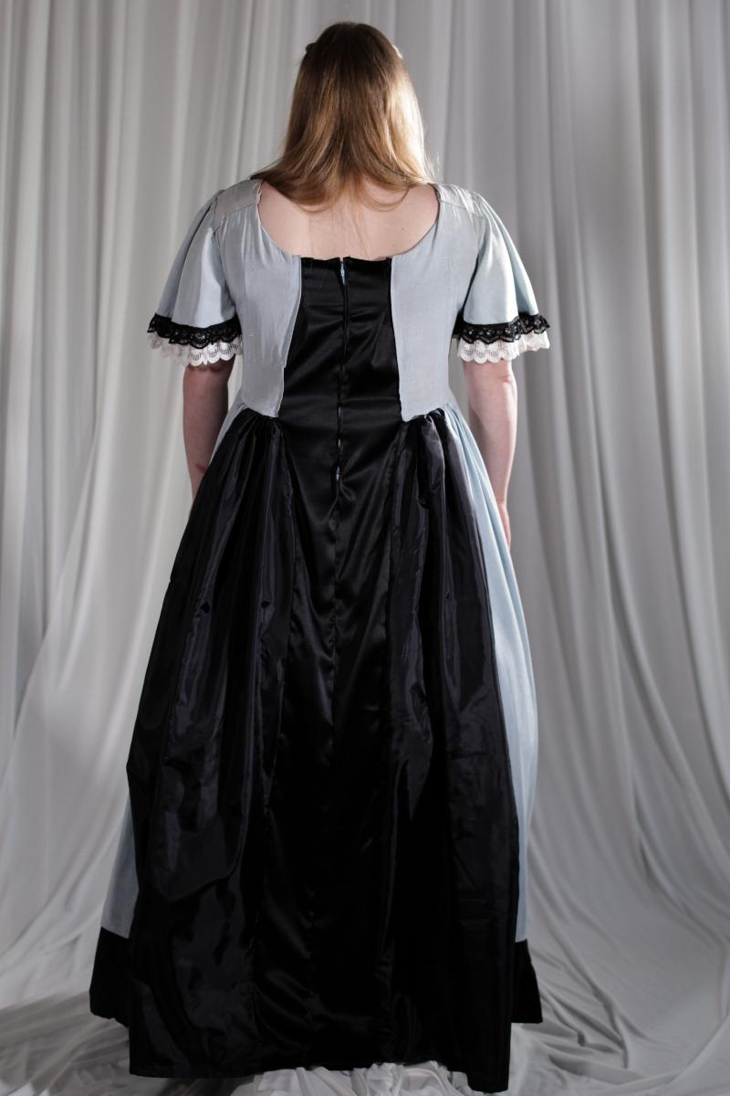 Crinoline/Civil War – Women's Full Outfit,  Light Blue and Black