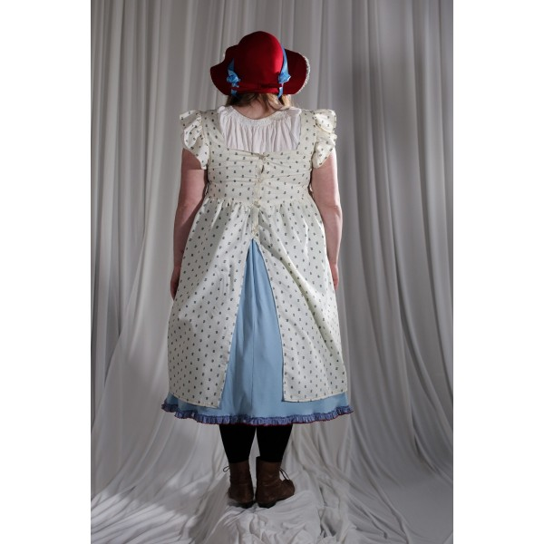 Crinoline/Civil War – Women's Full Outfit,  Light Blue,  White,  Red