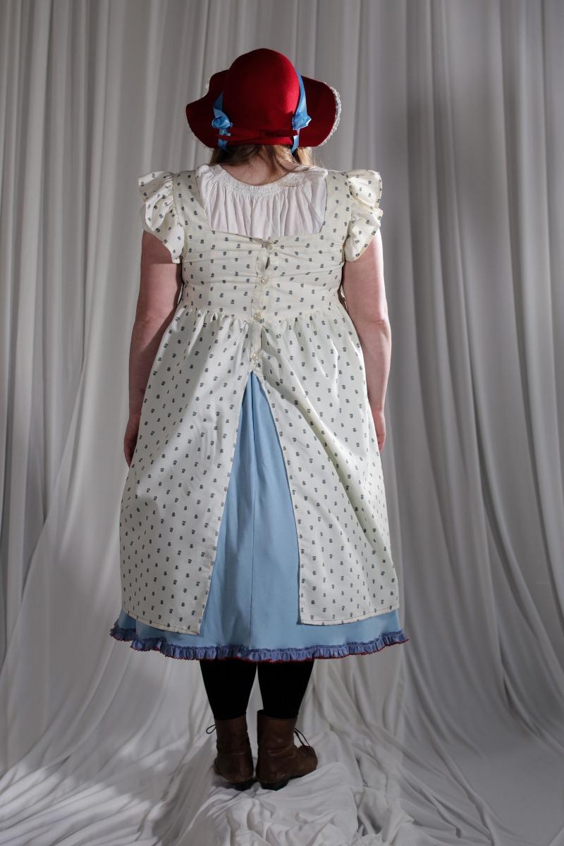 Crinoline/Civil War – Women's Full Outfit,  Light Blue,  White,  Red