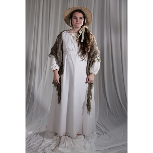 Crinoline/Civil War – Women's Night Dress,  White and Gray