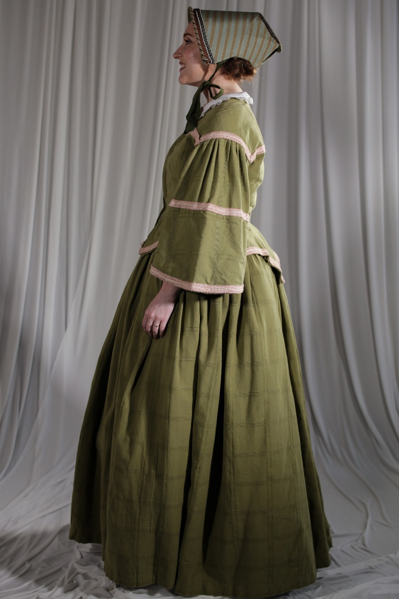 Crinoline/Civil War – Women's Full Outfit,  Green and Pink