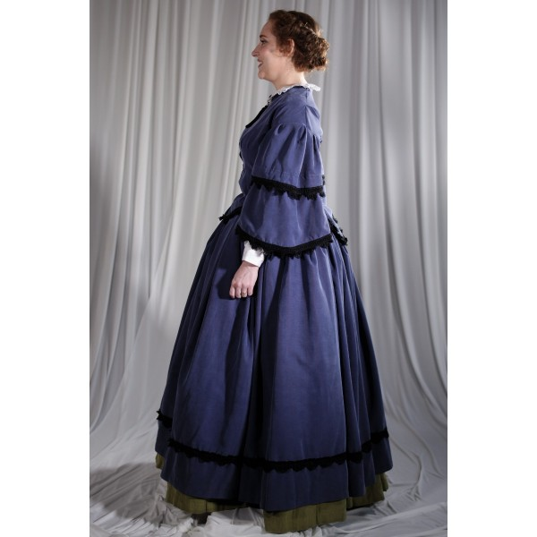 Crinoline/Civil War – Women's Full Outfit,  Dk Blue and Black