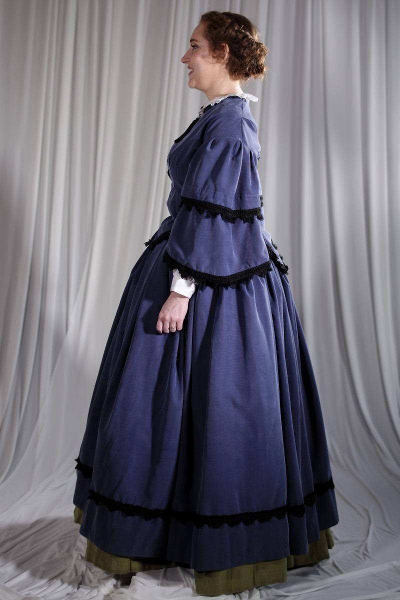 Crinoline/Civil War – Women's Full Outfit,  Dk Blue and Black