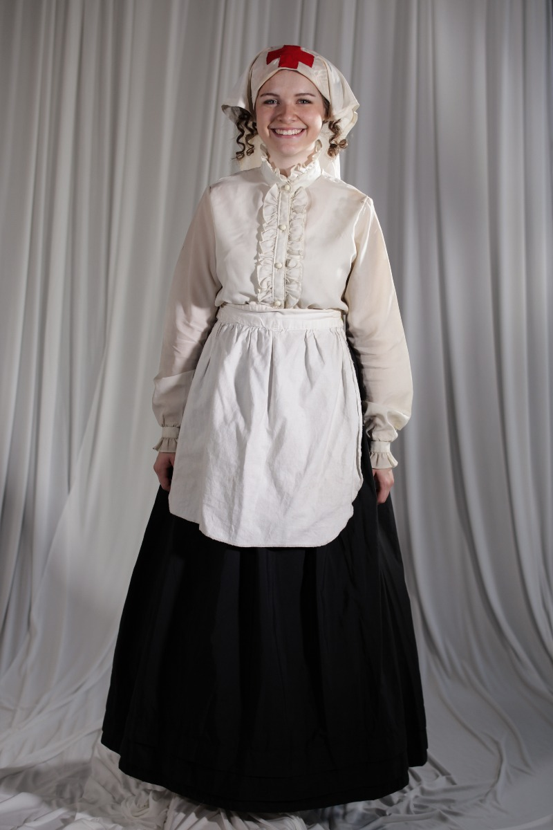 Crinoline/Civil War – Women's Full Outfit,  White,  Nurse