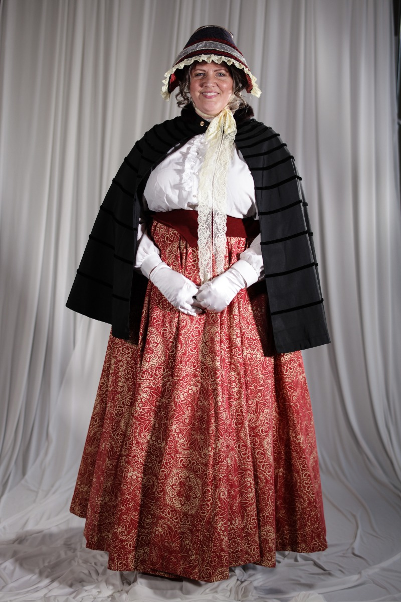 Crinoline/Civil War – Women's Full Outfit,  White and Pink
