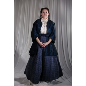 Crinoline/Civil War – Women's Full Outfit,  Dk Blue Jacket