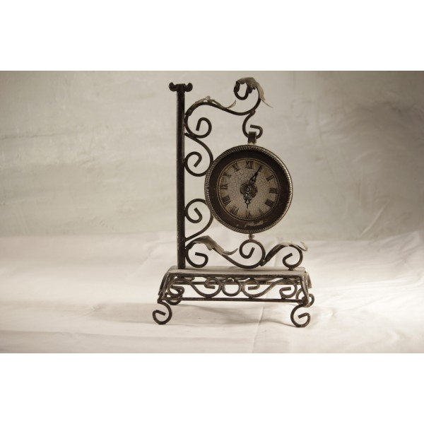 Clock, tabletop wrought iron