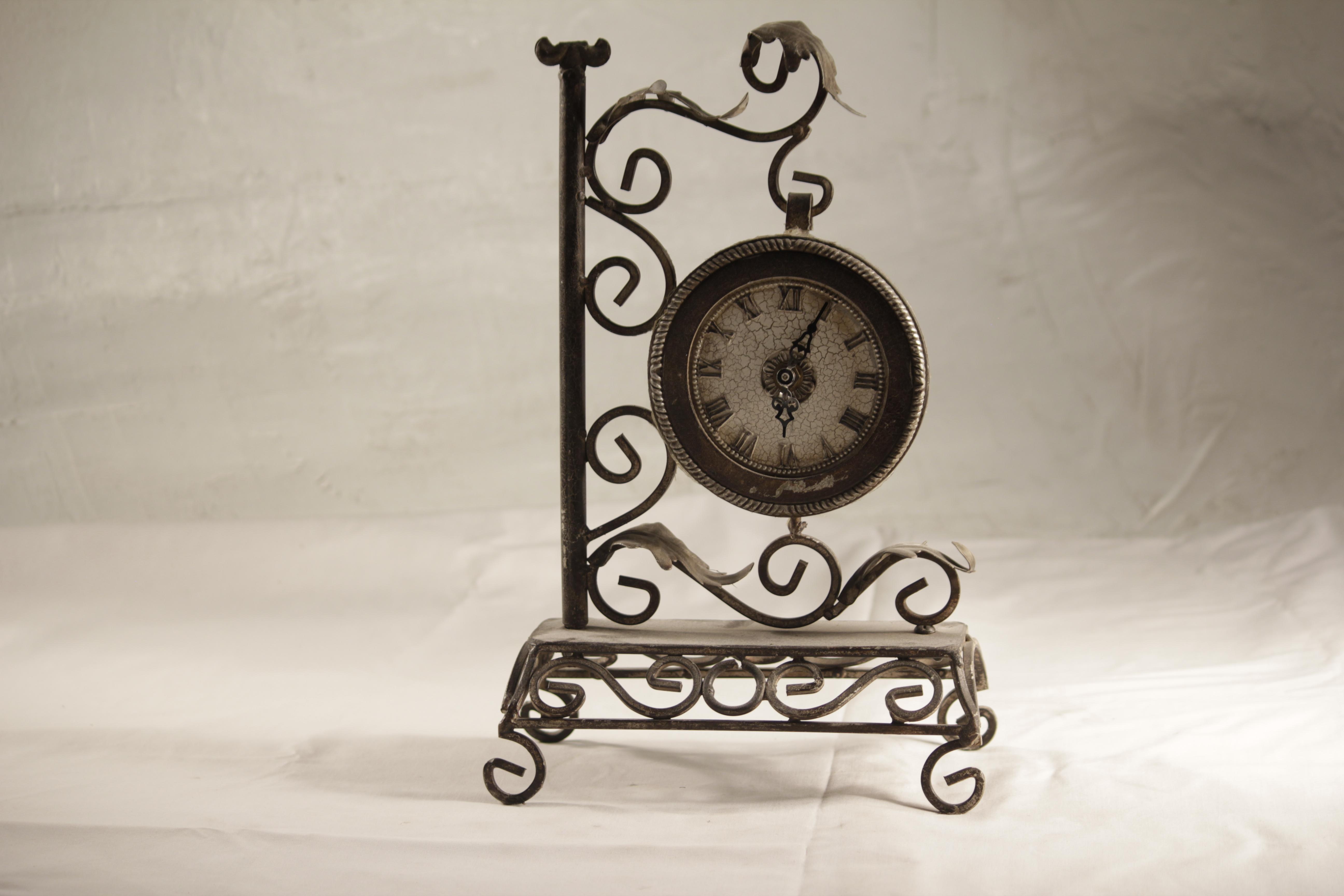 Clock, tabletop wrought iron
