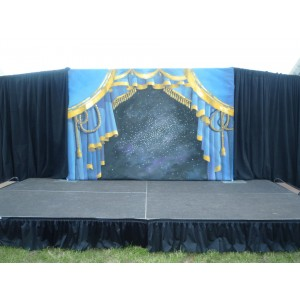 Blue Stage Curtain Backdrop, Small