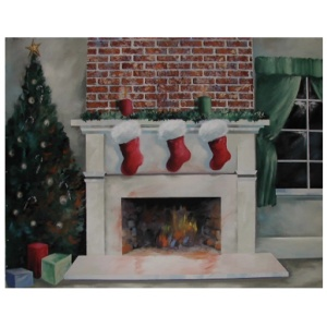 Christmas Fireplace Backdrop