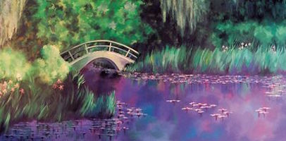 Water Lilies with Bridge Backdrop