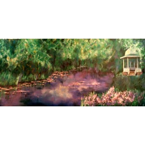Water Lilies with Gazebo Backdrop
