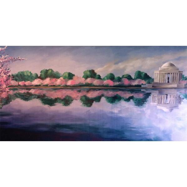 Jefferson Memorial Cherry Blossoms Backdrop