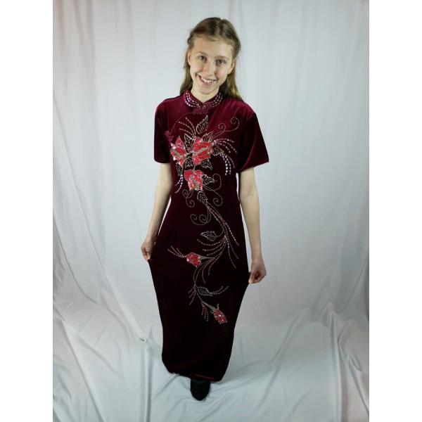 Asian Dress, Beaded Flowers